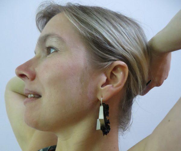 Boucles d'oreilles Pyrite argent 925 et ébène